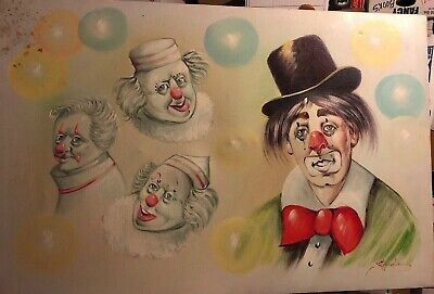 Vintage Clown Oil Painting On Canvas Signed Stephen