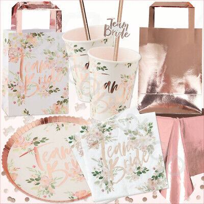 Team Bride to Be Hen Party Night Rose Gold Floral Table Decoration Tableware