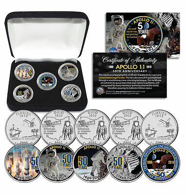 APOLLO 11 50th Anniversary Man on Moon Statehood Quarters 5-Coin Set with Box
