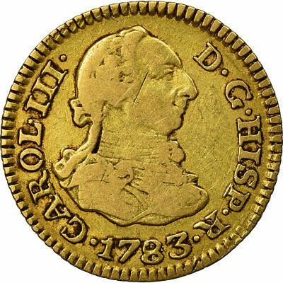[#484115] Coin, Spain, Charles III, 1/2 Escudo, 1783, Madrid, VF(20-25), Gold
