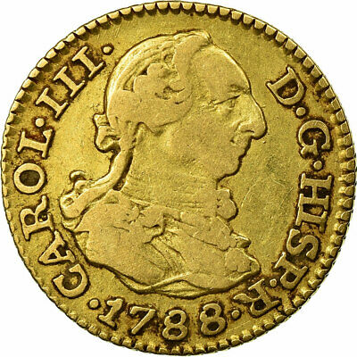 [#484118] Coin, Spain, Charles III, 1/2 Escudo, 1788, Madrid, VF(30-35), Gold
