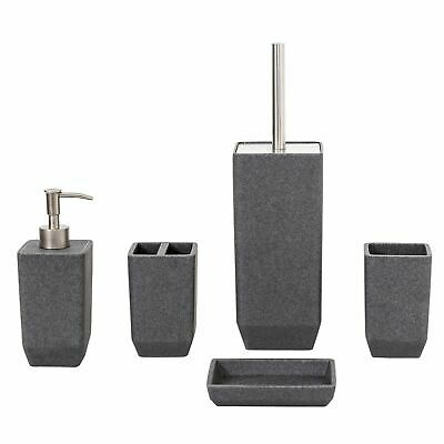 Metro - Grey Resin Square Modern 5 Piece Bathroom Accessory Collection