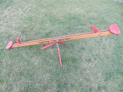 VINTAGE 1920s FRANK H. DICKSON WOOD w/CAST IRON TEETER TOTTER SEE SAW PLAYGROUND