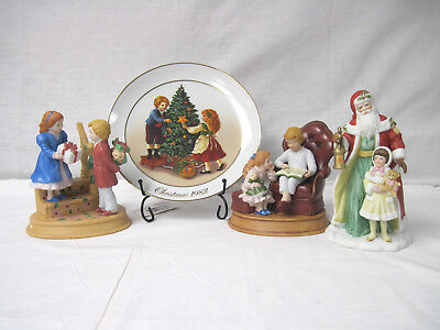 3 Vintage Avon Christmas Porcelain Figurines 1983, 1984, 1995 Holiday Plate 1982