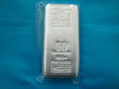 10 oz Republic Metals Corp. (RMC) CAST Bullion Ingot Silver Bar.999 Fine-Sealed