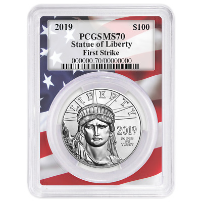 2019 $100 American Platinum Eagle PCGS MS70 First Strike Flag Frame