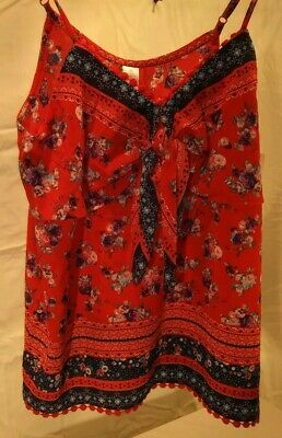 178f87b1ef5 NWT No Boundaries Juniors Med Red White Blue Floral Patriotic Boho Chic Tank