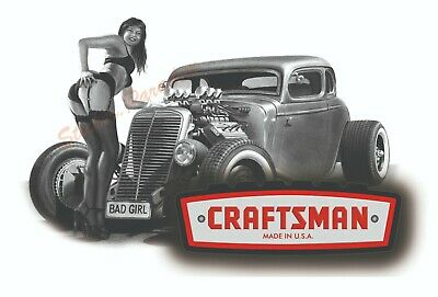 Craftsman Tool Sticker Bad Rod Girl Sexy Decal Mechanic Toolbox Sign Chest Usa