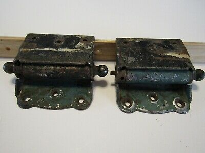 Vintage Ball Tip Bommer Style Steel Screen Door Hinges GREEN Shabby  1 Pair