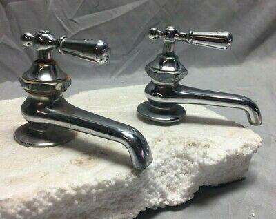 Antique Pair Nickel Brass Separate Hot Cold Faucets Vintage 301-19C