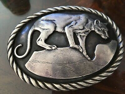 sterling silver belt buckle Cougar theme handmade by Tom Bahe  of the Navajos