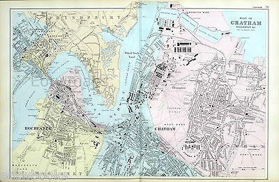 CHATHAM, ROCHESTER, GILLINGHAM, STROOD  - Original Antique Map - BACON, 1912