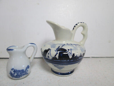 Hand Painted Delfts Holland Blue Mini Pitcher - Creamer Blue & White + Xtra
