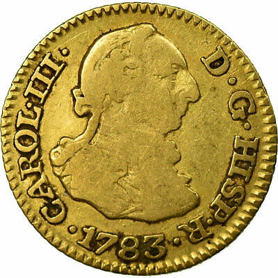 [#484114] Coin, Spain, Charles III, 1/2 Escudo, 1783, Madrid, VF(20-25), Gold