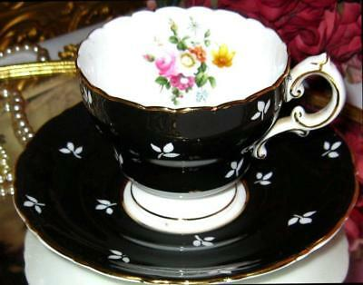 CAULDON Tea Cup and Saucer BLACK STENCILED FLORAL ROSE CENTER Bone China Teacup