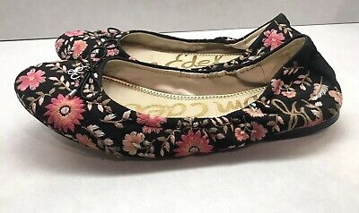 4cacebcfb0dc Sam Edelman 10 Felicia Floral Flats Black Embroidered Shoes Womens Slip Ons  Bow