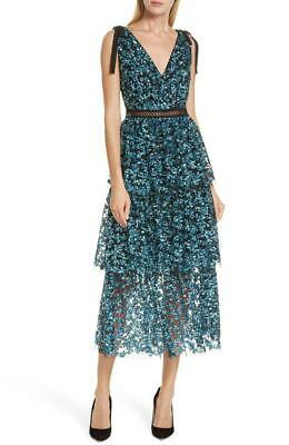 3c4773d410 NWT Authentic SELF-PORTRAIT Tiered Sequin Midi Maxi Dress Glitter Party  Dress