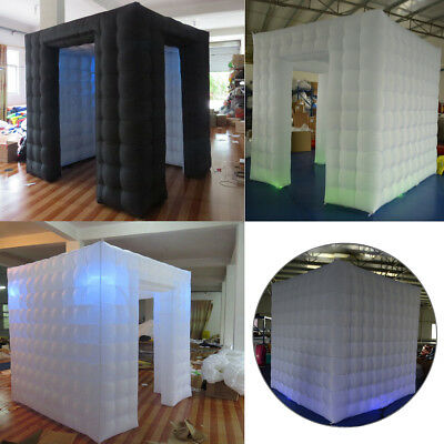 Portable Inflatable Cube LED Photo Booth Two Door Tent Wedding Birthday Party 1