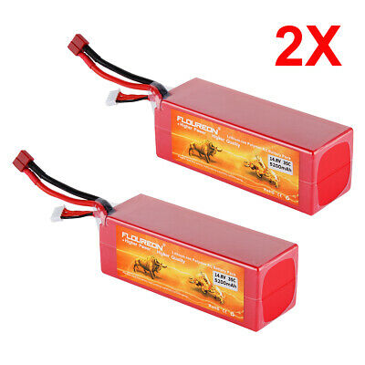 2X FLOUREON 14.8V 5200mAh 4S 35C LiPo Battery Pack for Electric RC Buggy Truggy