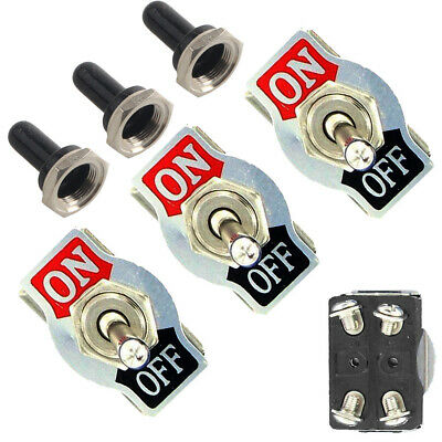 3Pc Metal 20A 125V 250V 15A DPST 4Pin ON/OFF Rocker Toggle Switch Boot Knob