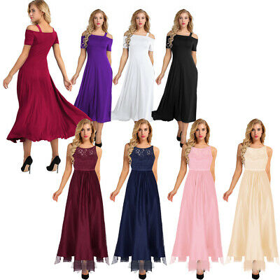 Women Formal Satin Long Dress Prom Evening Party Cocktail Bridesmaid Wedding New