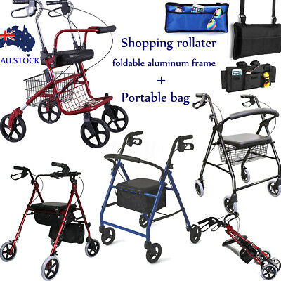Adjustable Folding Walker Shopping Rollator Mobility Frame Medical Aid Chair Lot