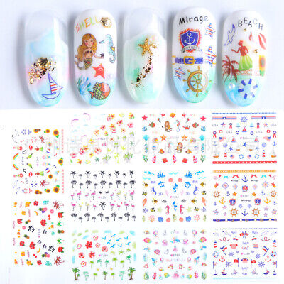 11Pcs 3D Nail Art Stickers Decals Under Water Sea Beach Mermaid Style Cartoon