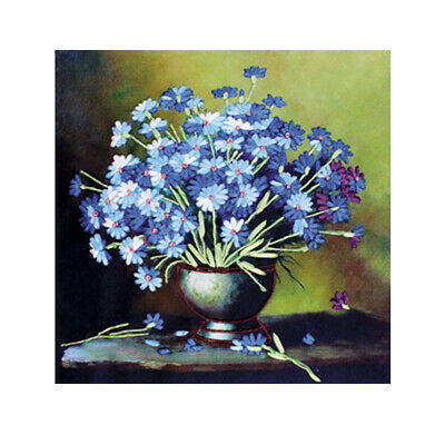 Blue Tone Flower Stamped Cross Stitch Kit Ribbon Embroidery Set for Beginner