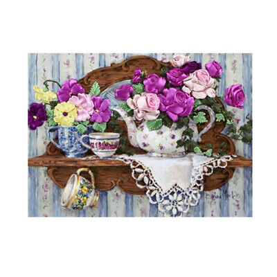 Flower Patterns Stamped Cross Stitch Kit Ribbon Embroidery Set for Beginner