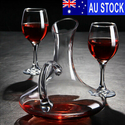 1700ML Crystal Glass Wine Decanter Carafe Elegant Pourer Container +4 Cup AUS
