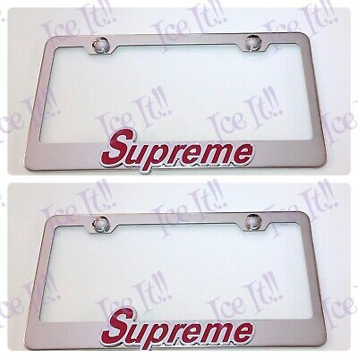 SUPREME New York 3D Stainless Steel License Plate Frame Rust Free W// Caps