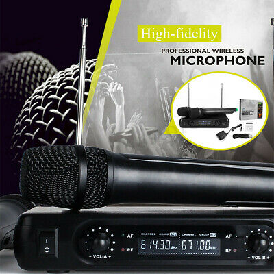 Professional 2 channel Wireless Dual Microphone Cordless Handheld Mic VHF System