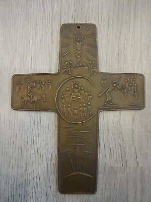 Vintage German brass or bronze crucifix cross PASSION of CHRIST, fine sacred art