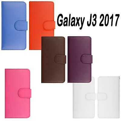 Samsung Galaxy J3 2017 Soft Pu Leather Combines Wallet Plain Book Case Cover