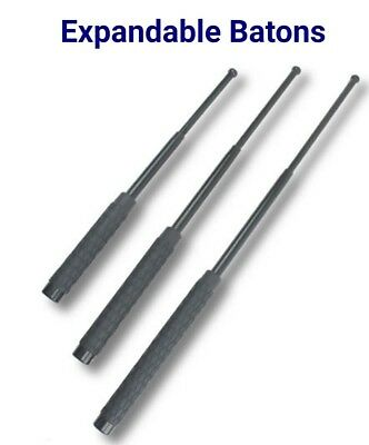 Steel Baton Telescopic Solid 16 Inch with Rubber Grip Nylon Holster