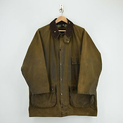 Vintage Barbour A98 Solway Zipper Brown Wax Jacket Faux Fur Liner Made In UK XL