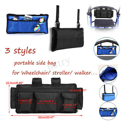 Wheelchair Walker Electric Scooter Bag Travel Carry Bag Pouch Armrest Side
