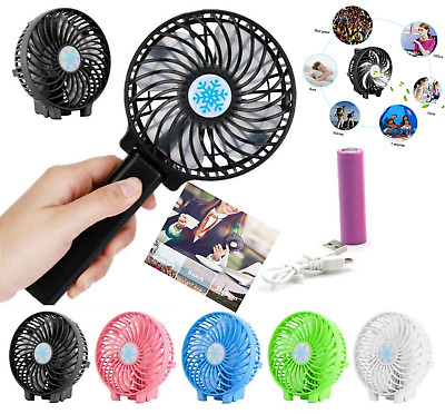 Mini Portable Hand-held Desk Fan Cooling Cooler USB Air Rechargeable Conditioner