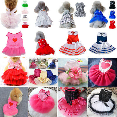 Small Pet Dog Cats Bow Tutu Dress Lace Skirt Puppy Summer Princess DRESS Clothes