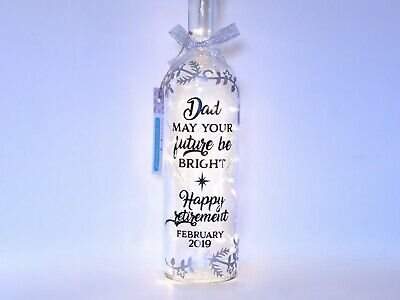 Happy Retirement Gift for Mum or Dad, Work Colleague, Personalised Bottle Light