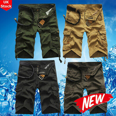 268bb397f5 Mens Cargo Shorts Pants Casual Army Combat Camo Summer Camping Trousers  Bottoms