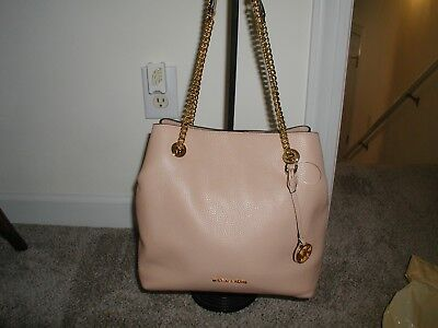 Michael Kors Jet Set Large Chain Shoulder Bag Hobo Tote Pebble Leather  Oyster 216e798779562