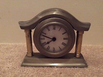 Clock, pewter, silver with brass columns, batteries, heavy