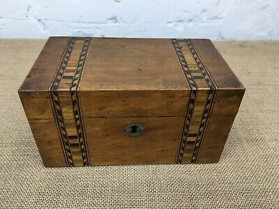 Early Victorian Tunbridgeware Banded Inlaid Marquetry Tea Caddy