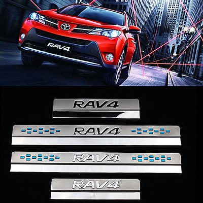 Stainless Outside Door Sill Scuff Plate Guards trim For Toyota RAV4 2014-2018
