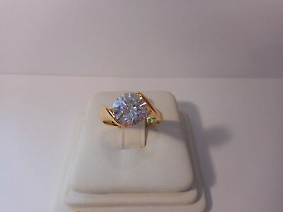 Avon Round CZ Solitaire Gold Tone Ring Size 8