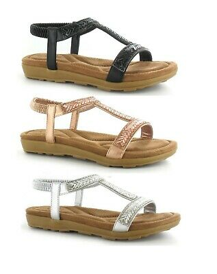 Ladies Womens Low Wedge Diamante Sling Back Orthopedic Sole Sandals Shoes Size