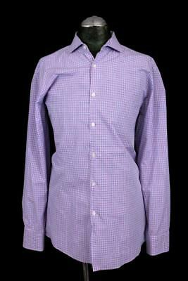 4fc2cc17 mens blue pink check HUGO BOSS maison sharp fit dress shirt cotton XL 17 34  35