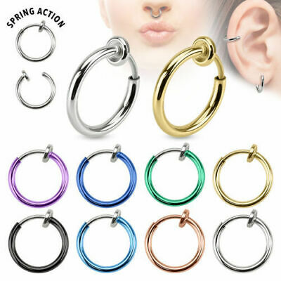 Nose Ring Ear Lip Fake Spring Hoop Silver Gold 13mm Surgical Steel Thin Piercing