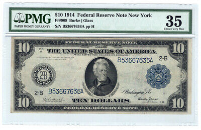 1914 $10 New York Federal Reserve Bank Note Fr. 909, PMG Choice VF 35 Y5291